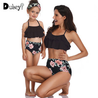 Tropical Baby Swimwear Flowers Mommy and Me Matching Swim Suit Holiday Family Matching Outfit Bathing Wear Holiday Costume