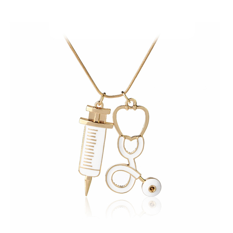 2017 New Arrival Classic Movie Doctor Who Doctors Syringe Stethoscope Pendant Necklaces Jewelry Long Chain Choker Necklace
