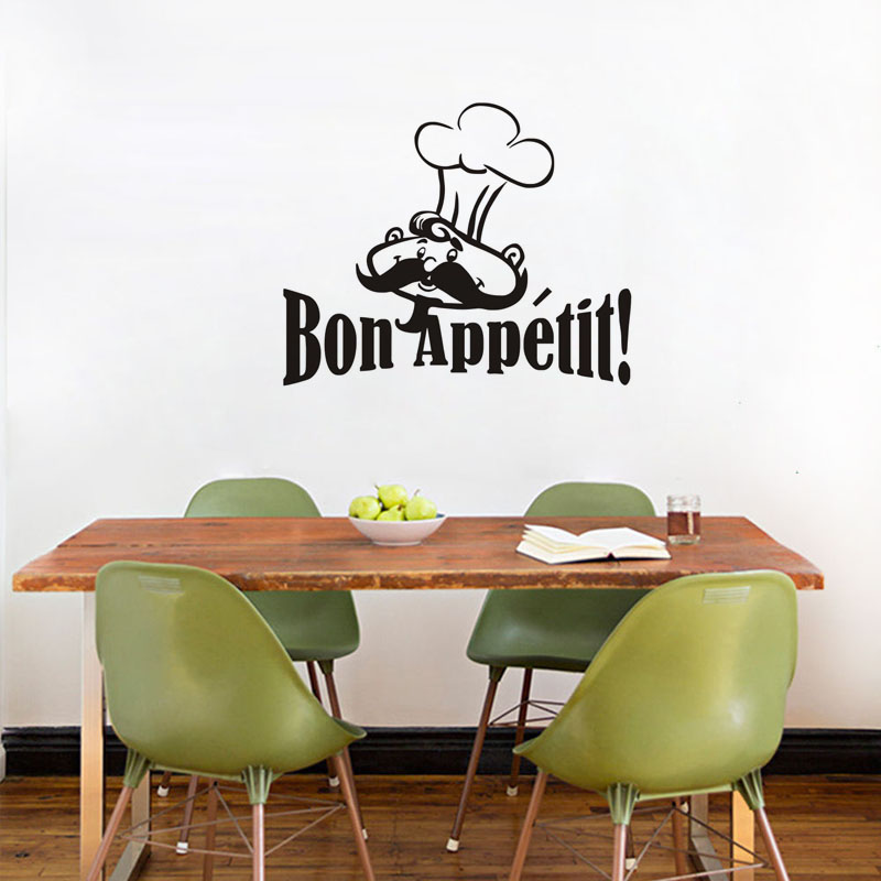 Chef With Moustache Wall Sticker For Kitchen Decor Bon Appetit Quote Dining Room Vinyl Wall Decal