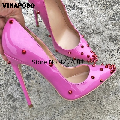 2019 Vinapobo Patent Leather heels Shoes Pointed Toe Women Pumps Rivet Studded For Wedding Party Dress