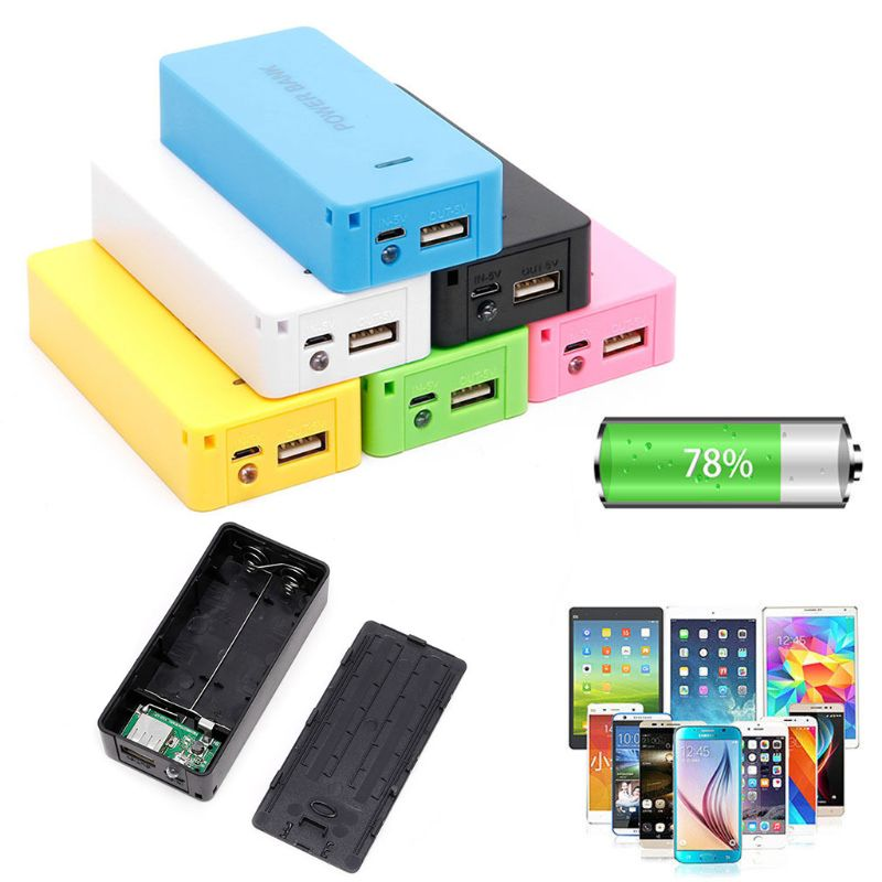 5V 1A 2 x 18650 Battery Power Bank Case With LED DIY Box Charger For Cell Phone M5TB