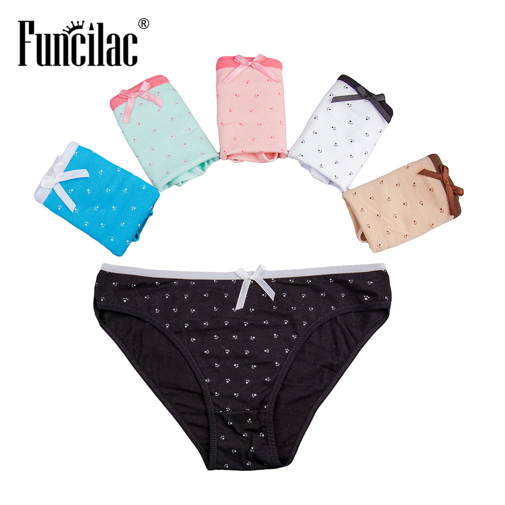 Buy FUNCILAC Seamless Panties Women Underwear Cotton Woman Briefs Sexy Dot Printed Underpants Knickers Ladies Lingerie 5pcs/lot