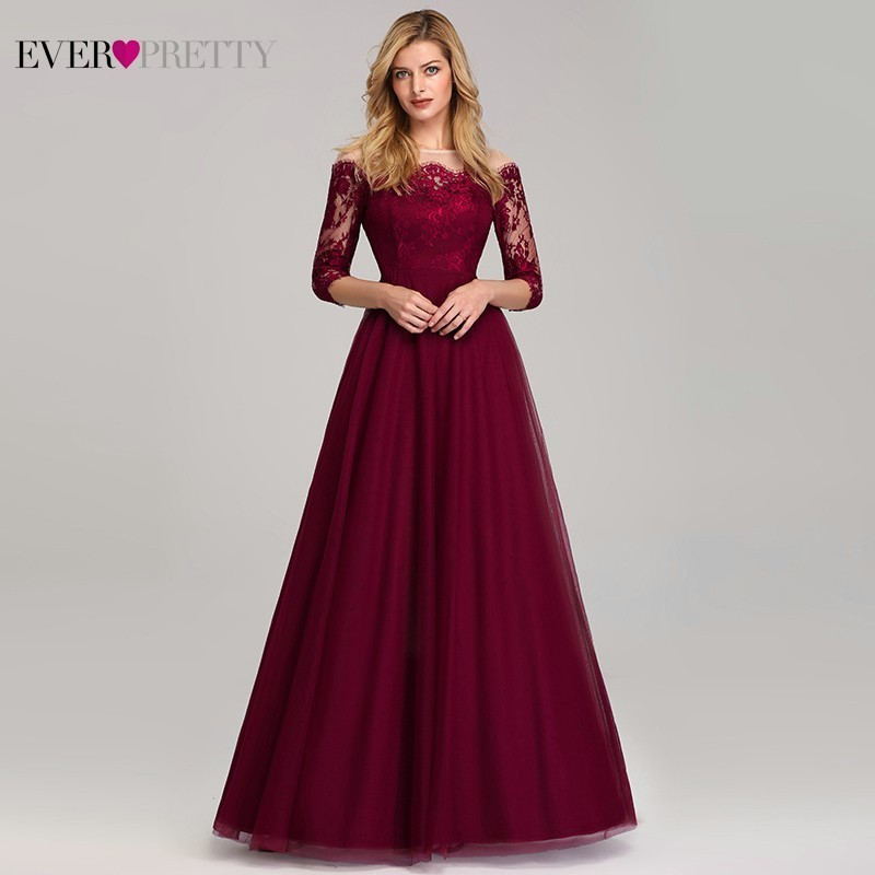 Elegant Lace Burgundy   Evening     Dresses   Ever Pretty A-Line O-Neck 3/4 Sleeve Gorgeous Women Formal Party Gowns Robe De Soiree 2019