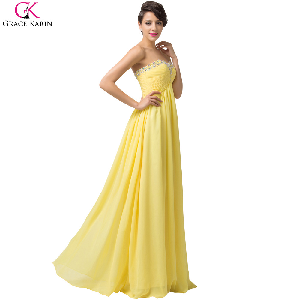 dadb8858642a Robe De Soiree Long Evening Dress Grace Karin Strapless Chiffon Elegant  Formal Gowns Special Occasion Yellow Evening Dress Party-in Evening Dresses  from ...