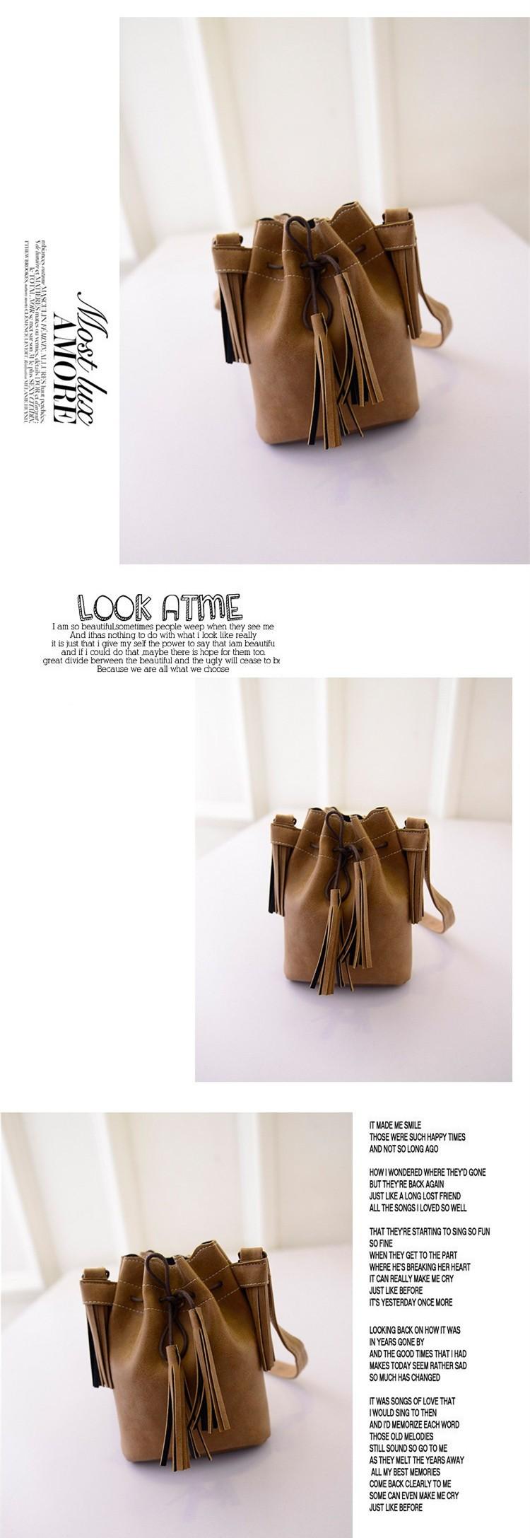 Vintage Bucket Women Shoulder bags Fashion Tassel bags Small Women messenger bags Spring Handbags Tote bolsas femininas BH237 (3)