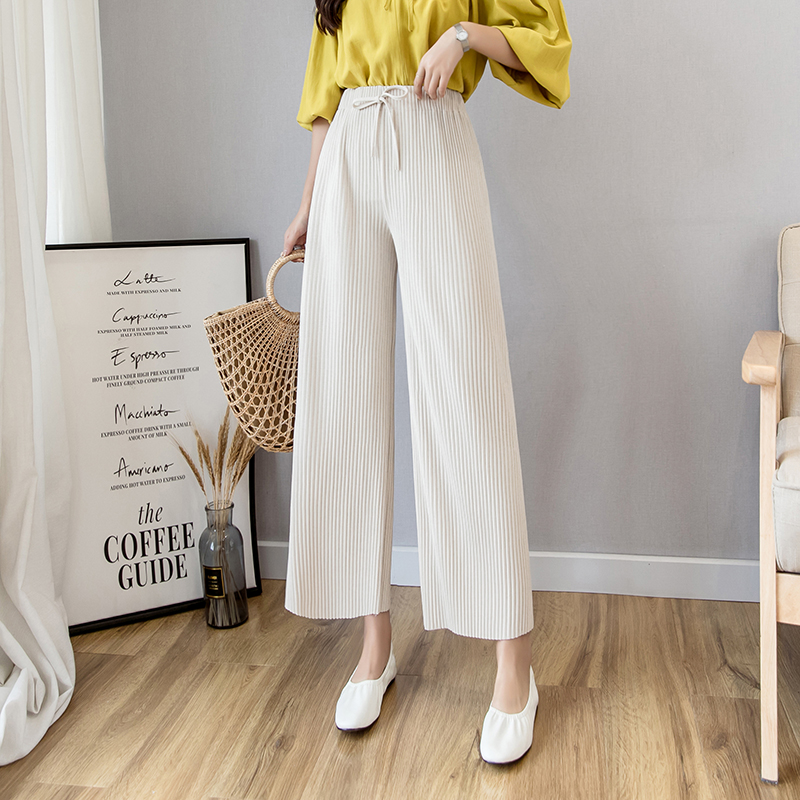 New Fashion Women knitted   Wide     Leg     Pants   Spring AutumnDrawstring Elastic High Waist Trousers Female Casual Loose   Pants