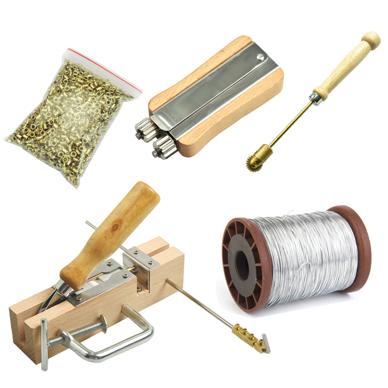 Beekeeping Tools Equipment Frame Hole Perforation Buried Wire Set+Copper Eye+Frame Puncher+Steel Wire+metal Wire TightenerBeekeeping Tools Equipment Frame Hole Perforation Buried Wire Set+Copper Eye+Frame Puncher+Steel Wire+metal Wire Tightener