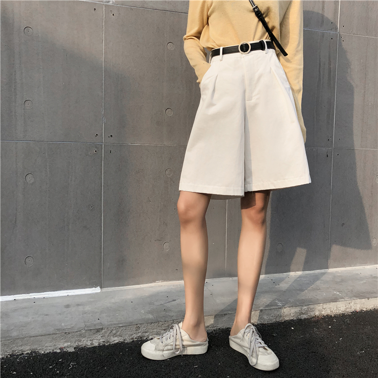 Knee Long Wide Leg Casual Women Shorts A-line High Waist Slim Summer Shorts Feminino Chic S M L Ladies Bottom Casual Street Wear