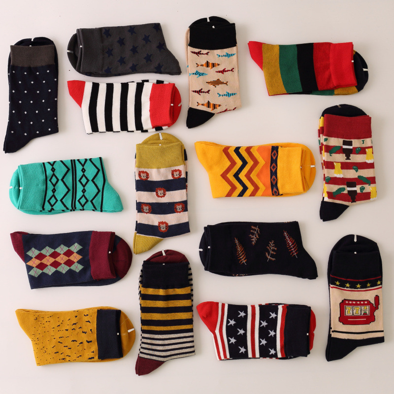 Free Shipping New Style Man Luxury Colorful Business Cotton Brand Men Socks,colorful Dress Socks US 7.5-12 (5 Pairs/lot )