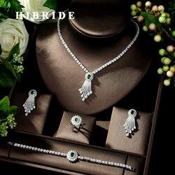 Набор ювелирных изделий HIBRIDE Beauty, набор ювелирных изделий из фианита с микро-покрытием, ААА, фианит, ожерелье, серьги, набор для свадебной веч...