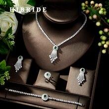 HIBRIDE الجمال مايكرو تمهيد AAA تشيكوسلوفاكيا مجموعات مجوهرات زركون قلادة القرط مجموعة مجوهرات الزفاف اكسسوارات N 278