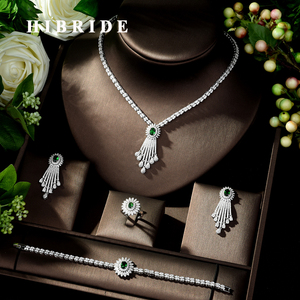 Image 1 - HIBRIDE Beauty Micro pave AAA CZ Jewelry Sets Cubic Zirconia Necklace Earring Set Wedding Party Jewelry Accessories N 278