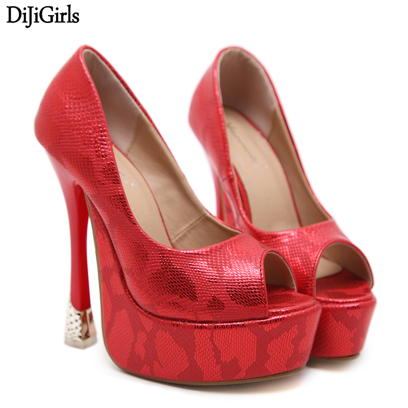 Red wedding shoes Summer Open Toe High Heel Shoes 15CM Ultra High Heel Pumps fashion Black Women Shoes High Heel fashion ultra high heel dress shoes women stiletto heel platform round toe pure black can match any situation