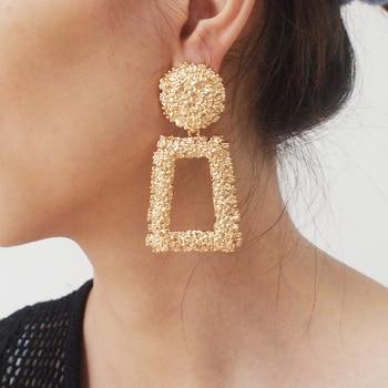 Vintage Geometric Stud Earrings Fashion Jewelry Women Rough Metal Big Alloy Statement Earings Punk 2019 Party Accessories UKMOC