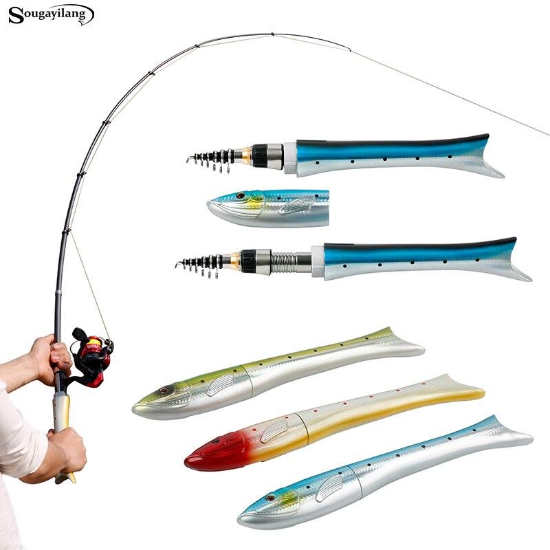 Sougayilang 1.6m Mini Fishing Rod For Children Fish Shaped Fishing Rod Carbon Telescopic Spinning Rod Casting Carp Fishing Pole