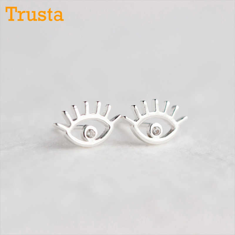 707d089b1 Trusta 100% 925 Sterling Silver Women's Jewelry Fashion Tiny 11mmX7mm Eye Stud  Earrings Gift For