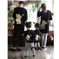 Matching Family Outfits Mother Father Daughter Son Baby Clothes Hoody Family Look Cartoon Bear Tops Blouse