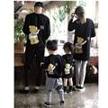 Combinando Roupas Da Família Mãe Filha Filho Pai Roupas de Bebê Com Capuz Família Olhar Urso Dos Desenhos Animados Tops Blusa Bebê Natal Vestir