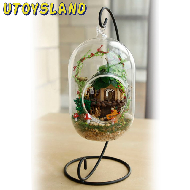 UTOYSLAND DIY Wooden Fairy Tree House Miniature 3D Toy Doll House Voice Control LED Light Crystal Glass Ball Kids Toys Decor