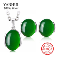 YANHUI Luxury 5 Carat Natural Stone Necklace Earrings Set Original 925 Solid Silver Green Crystal Bridal