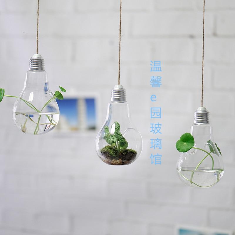 3pcs set glass terrariums hanging glass planter lightbulb air plant orb terrarium for home decor house