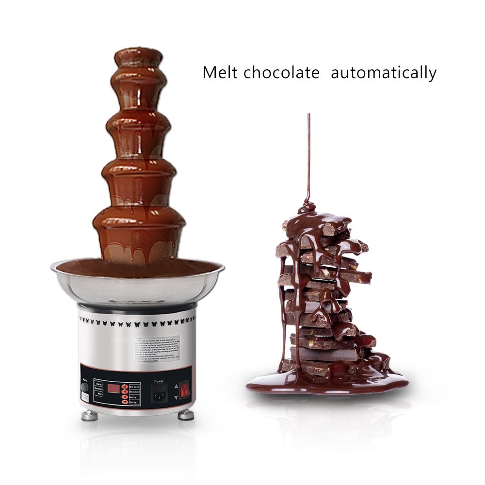 Commercial 4/5/6/7 Tiers Chocolate Fountain , Stainless Steel Automatic Melting Pot Machine 4kg Capacity
