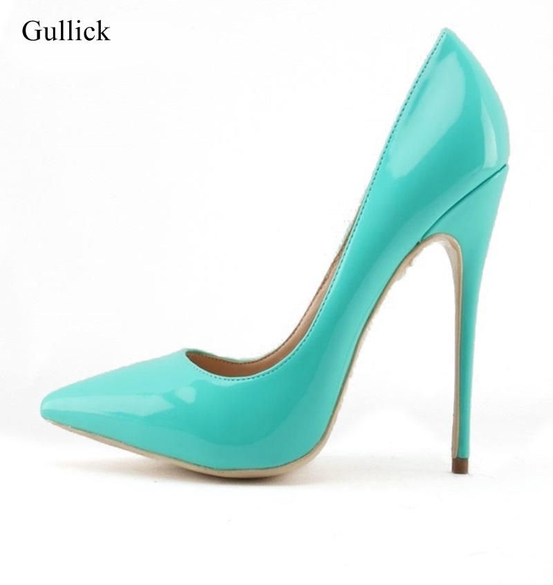 Women Turquoise Color Patent Leather Pumps Stiletto Heels Pointed Toe Shallow Cut Banquet Shoes Sexy Slip-on Party Dress Shoes newest flock blade heels shoes 2018 pointed toe slip on women platform pumps sexy metal heels wedding party dress shoes