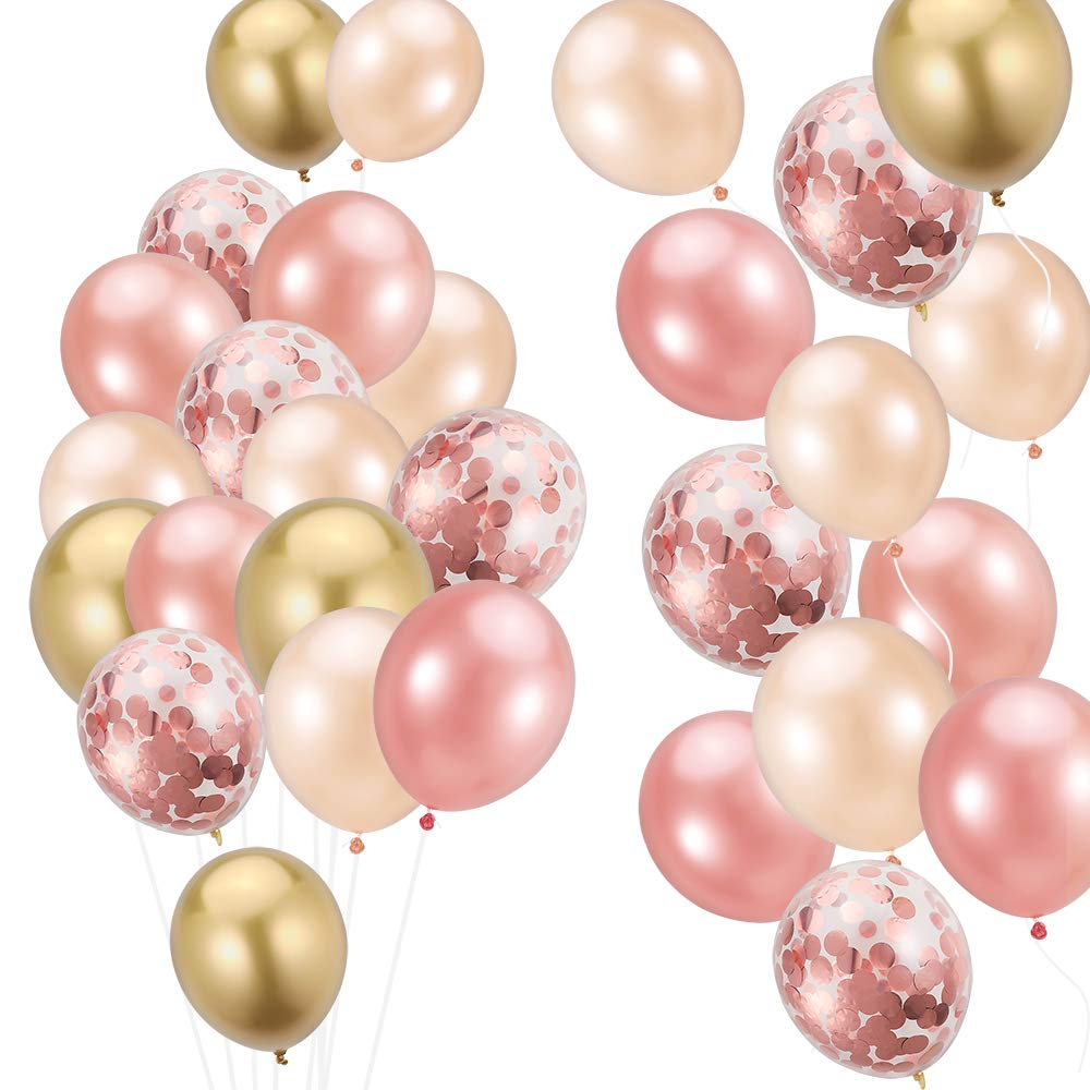METABLE 100PCS Rose Gold, Gold Confetti Champagne Metallic 12/10 inch Latex Balloons for birthday party wedding