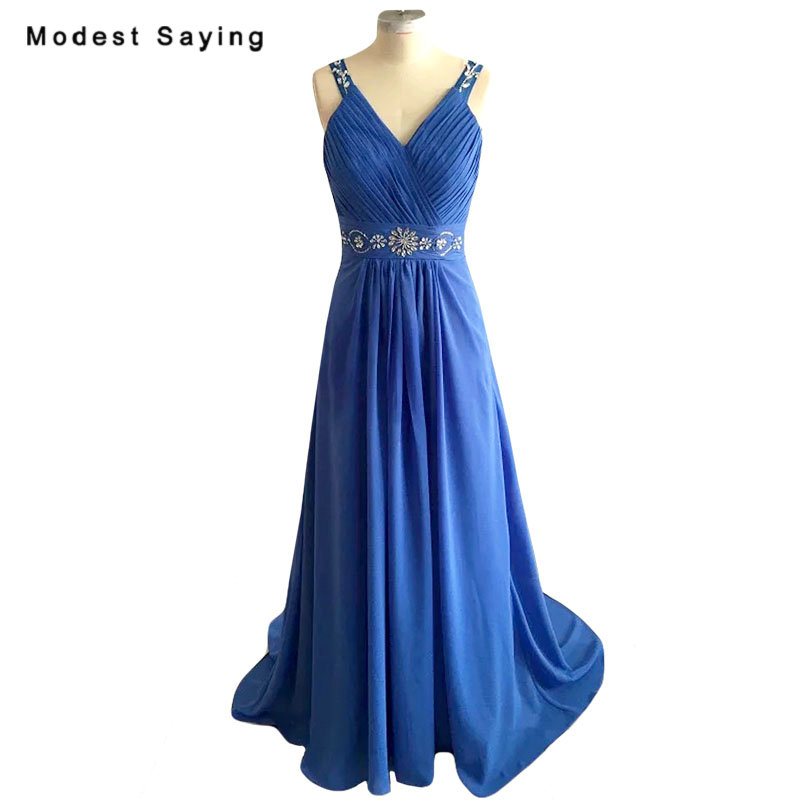 Real Photo Elegant Royal Blue   Evening     Dresses   2018 with Rhinestone Sheer Back A-Line Long Red Party Prom Gowns vestido de festa