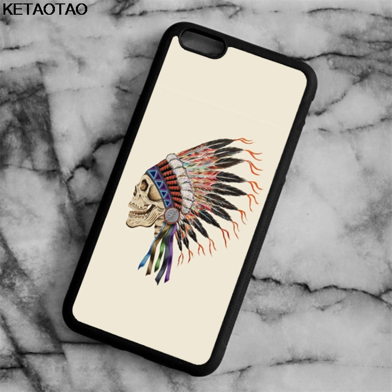 KETAOTAO Death Indian Skull Skeleton Phone Cases for iPhone 4S 5C 5S 6 6S 7 8 Plus X for Samsung Case Soft TPU Rubber Silicone