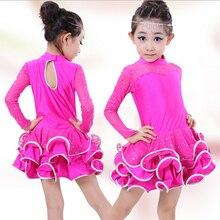 عالية الجودة الخريف والشتاء للأطفال قاعة الرقص المرحلة ملابس الفتيات اللاتينية الرقص فستان بأكمام طويلة أداء الأزياء
