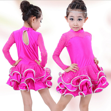 High quality Fall and winter childrens ballroom stage clothing girls Latin dance long sleeved dress perfoming costumes