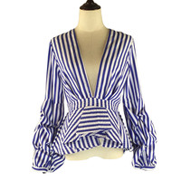 Puff Sleeve Blue White Stripe Blouse Shirts Ruffles Trim Women Sexy Neck Sping Fashion New Tops Clothing Blusas Plus Size 4XL