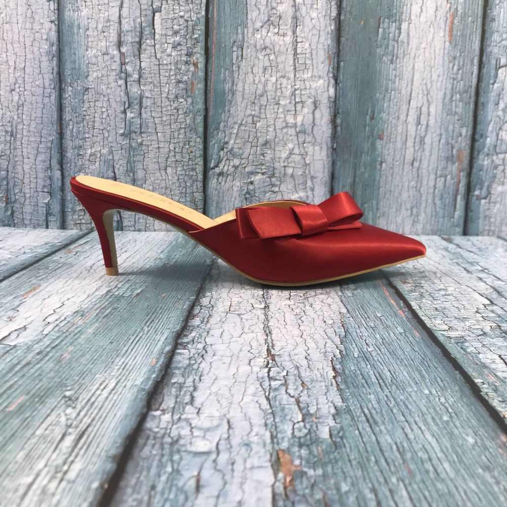 bde2fc5d92 ... Kmeioo US Size 5-15 Sweet Mule For Women Bow Tie Mules Slip-on ...