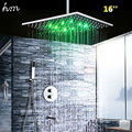 "hm LED Shower Set with 16"" Square Thermostatic Showerhead Concealed Brass Valve Ceiling Mounted Handheld Bath & Shower Faucets"