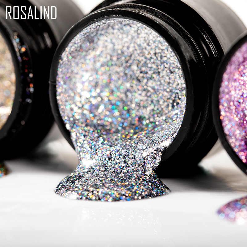 ROSALIND 5 ml สีรุ้งเจลเล็บ Polish Bright สำหรับ Glitter Nail Art Design Poly Top Base Primer สำหรับเล็บ