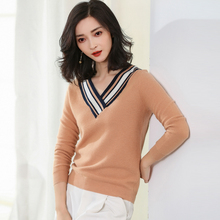 JECH 2017 High Quality Fashion Spring Autumn Winter Cashmere Sweater Women Wool V-Neck Pullovers Womens Casual