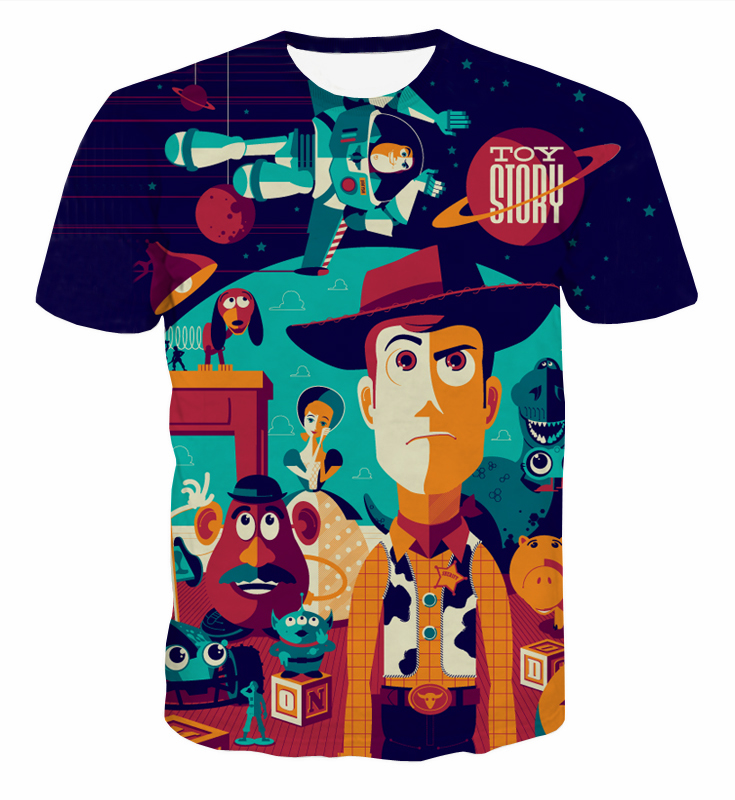 New Cartoon Toy Store t shirts tees Cute Sherif Woody and Buzz Lightyear tshirts Mens Space 3d t shirt harajuku shirts CTE-039