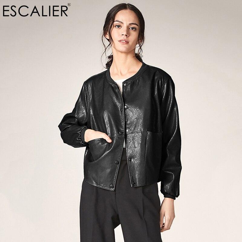 ESCALIER Autumn Leather Jacket Women Casual Long Sleeve Button Slim Basic jackets 2018 Fashion PU Leather Bomber Coat Femininas