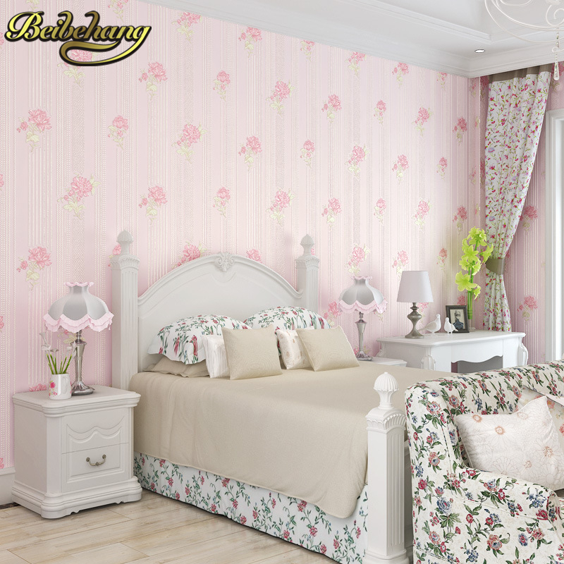 beibehang Simple flower Floral Wall Paper Living Room Bedroom Wallpaper For Wall papel de parede 3d papier peint Home Decoration beibehang wall paper papel de parede 3d korean garden flower pink romantic wedding room bedroom wallpaper shop for living