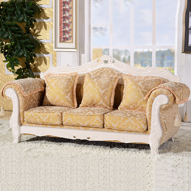 US $470.0 |Wholesale Europe classic style sofa furniture oak wood carving  with Bar series fabric cover L811-in Living Room Sofas from Furniture on ...
