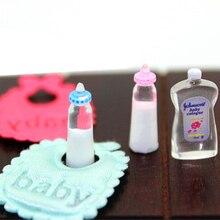 1 Набор = 5 шт Детские бутылочки 1:12 кукольный домик миниатюрные Детские Аксессуары Подарочный шампунь нагрудники набор для девочки