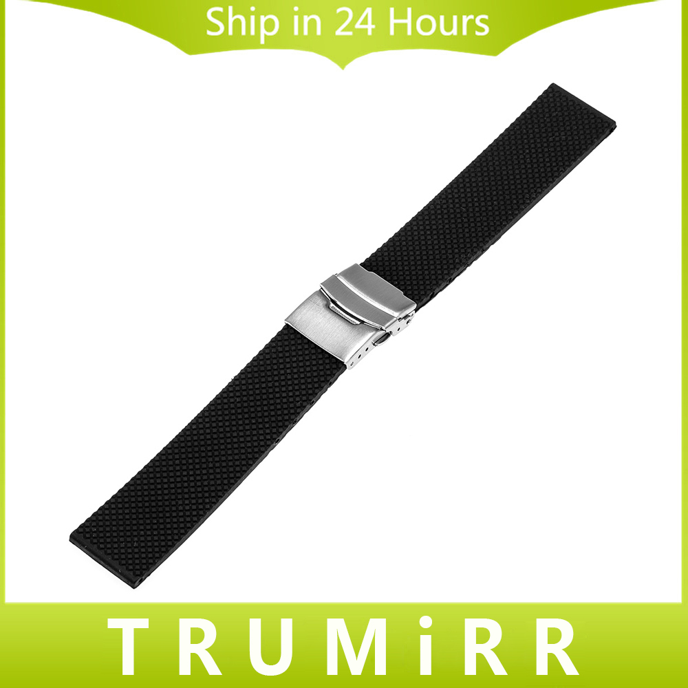 20mm 22mm 24mm Silicone Rubber Watch Bracelet Universal Watchband Mesh Resin Strap with Stainless Steel Clasp Buckle Black цена и фото