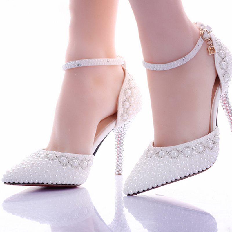 Hot Luxury Shiny White Pearl 9cm High heel Bridesmaid Bridal Shoes Rhinestone Lady Shoe Wedding Party Pointed Toe Pageant Event
