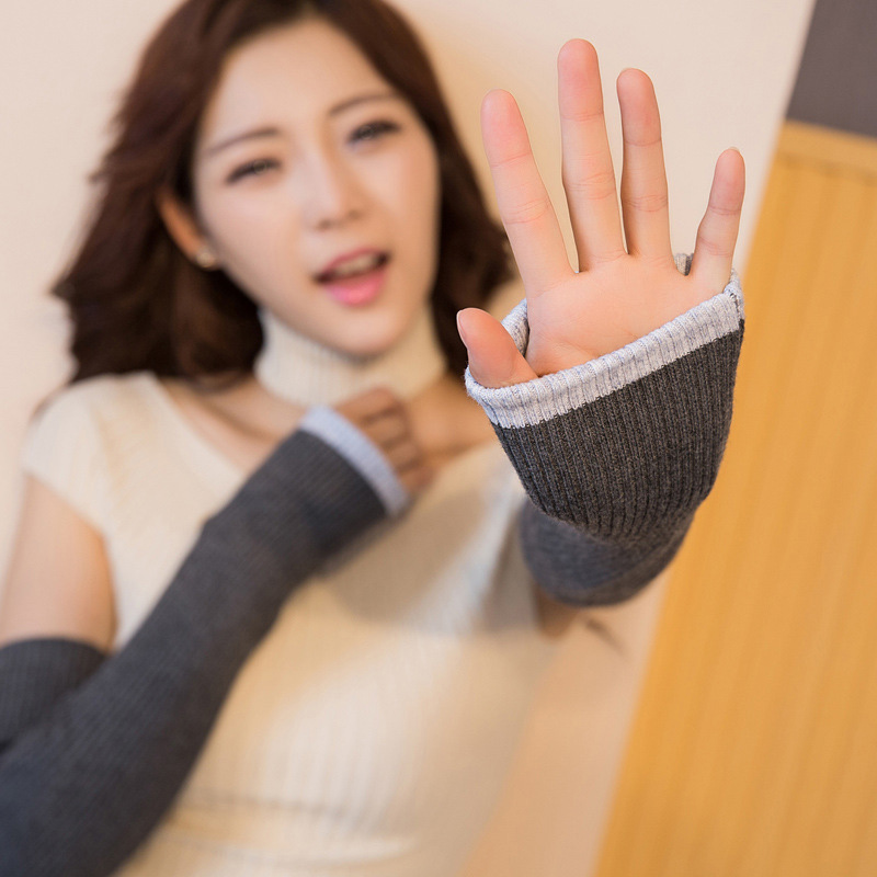 40cm 50cm 60cm 3-Lengths Women's Double Layer 2-Colors Wool Arm Warmers Knitted Sleeve Long Fingerless Gloves Wholesale Retail