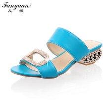 Fanyuan Slippers Women Low Heels Thick-heeled Metal Glitter Slides 2017 Summer Beige Orange Outside Plus Size Rhinestone Shoes