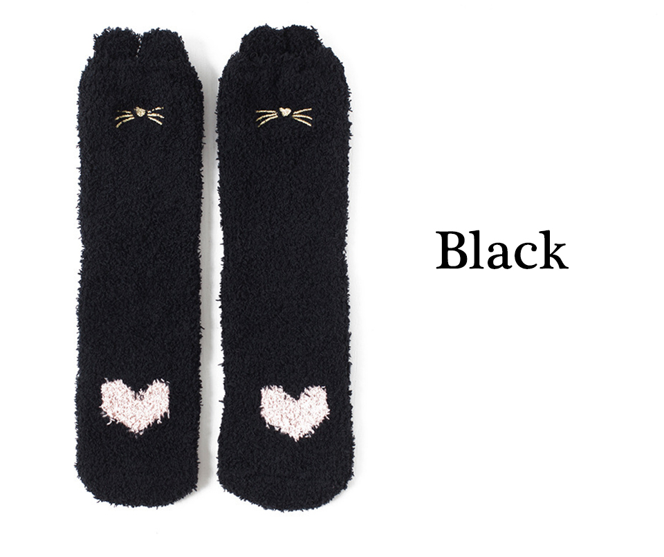 Ladies Winter Japanese Embroidery Animal Corals Velvet Stereo Ear Thick Warm BedS Bed Home Fluffy Socks Coral Velvet Foot Cover (8)