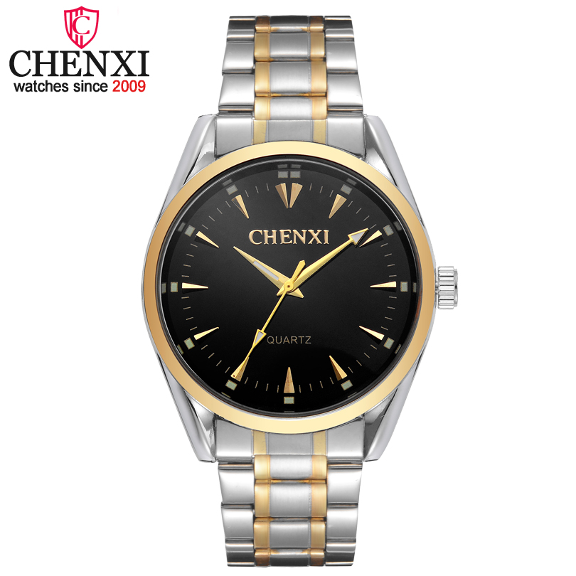 CHENXI Brand Classic Business Quartz Watch Men Popular Stainless Steel Silver&Gold Watches Man Fashion Luxury Gift Clock Relogio 2017 fashion casual mens watch gold stainless steel watches men quartz wristwatches sliver skull clock for man christmas gift