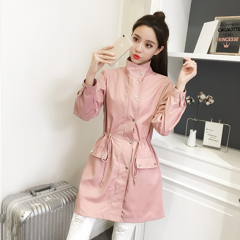 Ailegogo Women Spring Slim Medium Long   Trench   Coat Casual Lace Up Zipper Coats OL Style Pink Midi Outwear Female