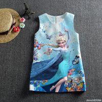 2017 Summer Girls Dress Elsa Dress Vestidos Snow Queen Princess Anna Elsa Butterfly Print Party Dress